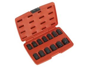 "Sealey Air Impact Wrench Socket Set 13 Pce 1/2""  Metric 10 - 24mm BI-HEX 12Point 5054511078725"