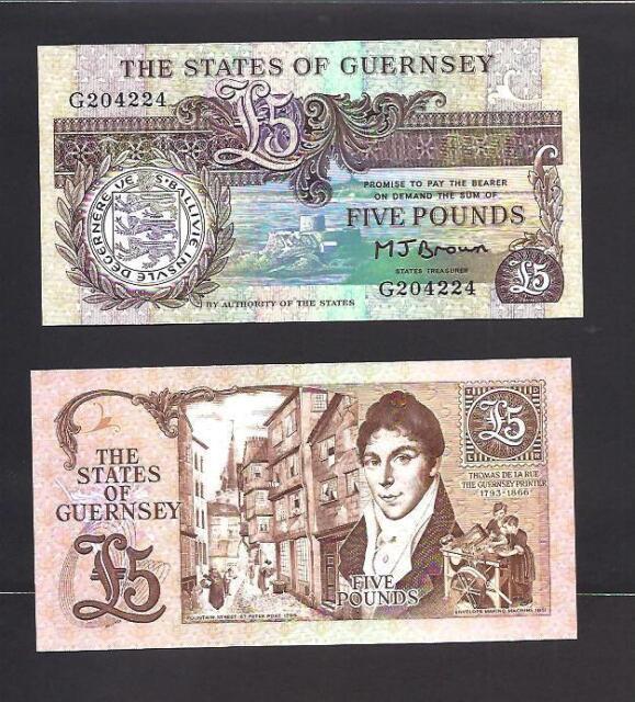 Guernsey p-53a , UNC, 5 Pounds, 1990 - 1995
