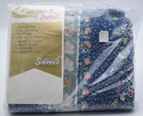 Caldwell Queen 4 Piece Bed Sheet Set 1980s Full Flat Pillow Percale Sari Flower