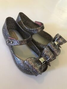 d00befd74b Mini Melissa Ultragirl VIII Bow Silver Multi Glitter Mary Jane Girls ...