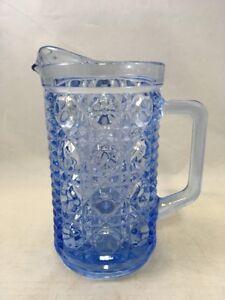 Vintage-Blue-Cut-Glass-Pitcher-Creamer-Small-Light-Blue-6-034-Carafe