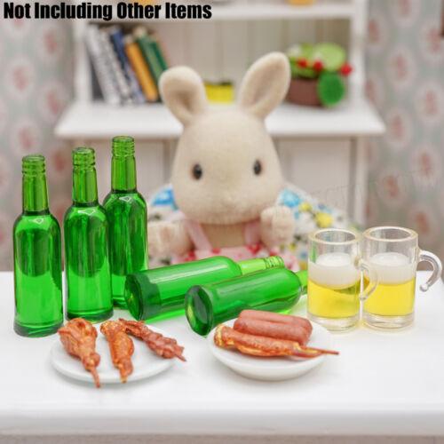 Conjunto de 6 botellas de cerveza verde 1:12 bebida bebida Vino Jugo Casa De Muñecas En Miniatura