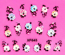 Nail Art 3D Decal Stickers Colorful Rose Flowers with Rhinestones XF645