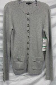 grigie costine Maglione Anne Taglia nuovo a lunghe a cardigan tag maniche Large Klein Ak W 8BUnxwqEzq