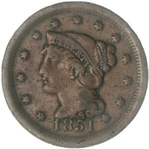 1851 Braided Hair Large Cent Very Fine VF