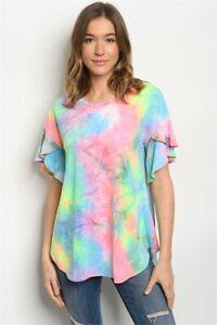New-USA-Boho-Hippie-Tie-Dye-Colorful-Western-Ruffle-SleeveTunic-S-M-L