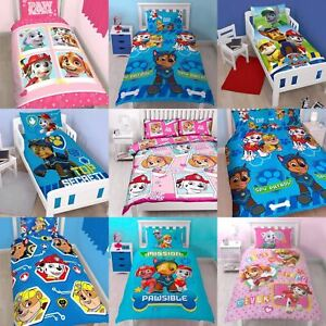 New Paw Patrol Duvet Quilt Cover Bed Set Spy Chase Marshall Skye Kids Boys Girls