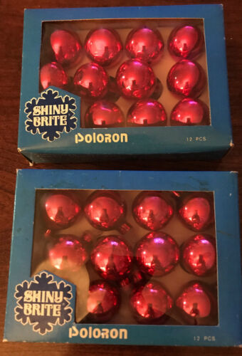 Shiny Brite Poloron Tiny Glass Ornaments Red Vtg Lot Of 2 Boxes