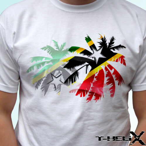 Saint Kitts and Nevis Palm flag mens womens kids /& baby white t shirt top