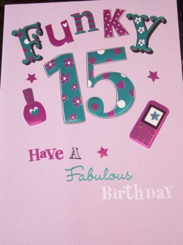 Girl/'s Funky 15th Carte d/'anniversaire par Macaron cartes.