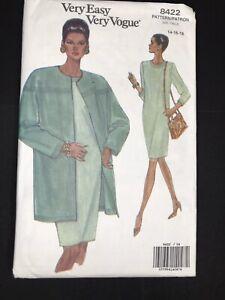 Vintage Very Easy Vogue Sewing Pattern 8422 Sz 14 16 18 Long Sleeve Dress Jacket