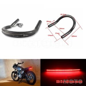 Motorcycle-Upswept-Cafe-Racer-Rear-Seat-Frame-Hoop-Loop-With-LED-Light-Strip