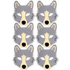 6 Wolf Foam Face Masks - Fancy Dress Animal Halloween - by Blue Frog Toys Ltd
