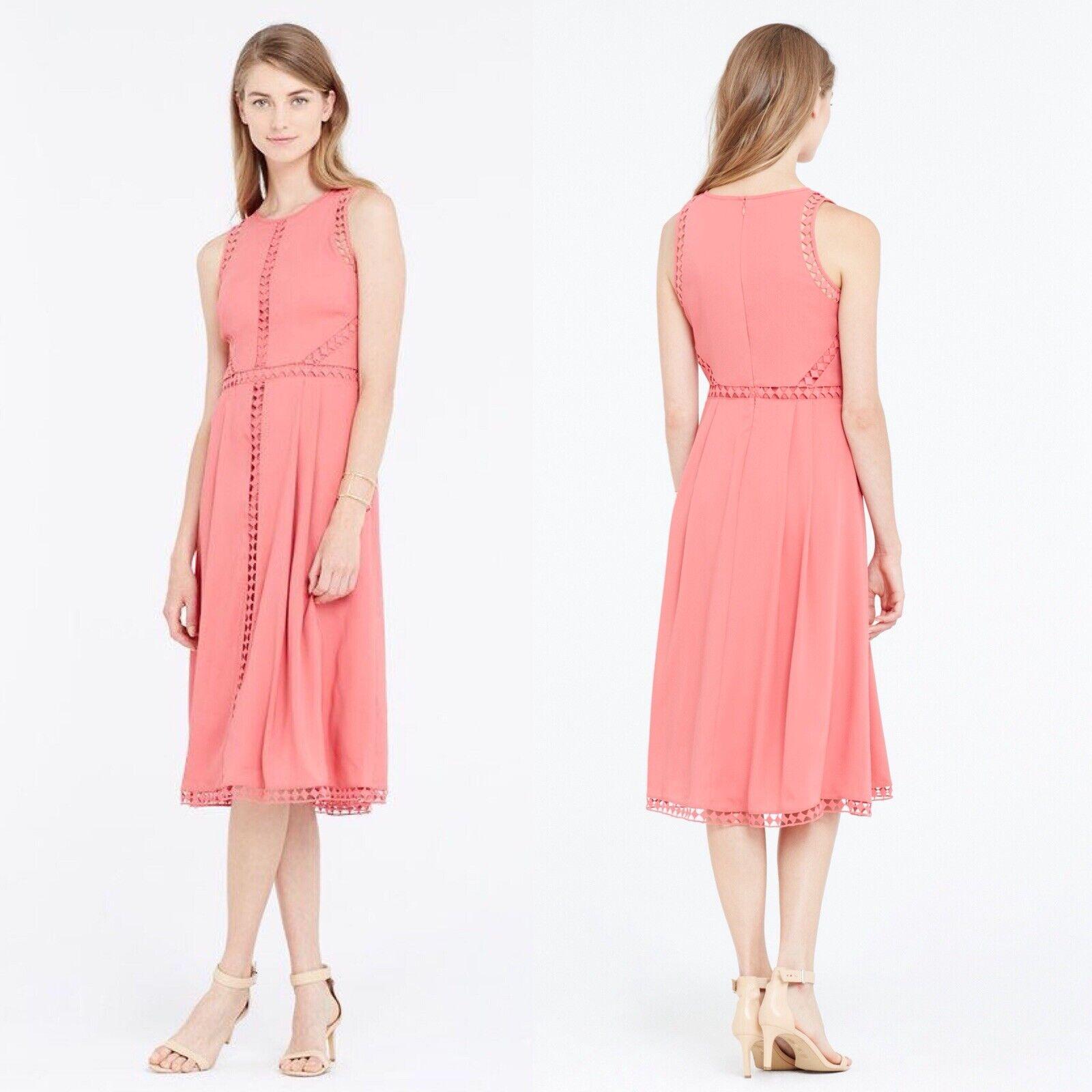 NWT Ann Taylor Dark Begonia Rosa Embroiderot Trim Midi Dress Größe 10