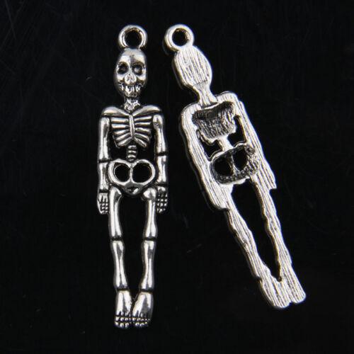 20pcs Tibetan Silver Skull Pendants Charms For Jewelry Making 39x9mm
