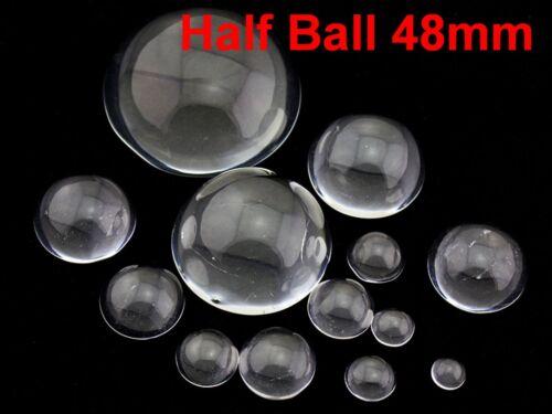 Nouveau Transparent Claire Flatback verre demi-sphère boule Cabochon 50 mm sans trou