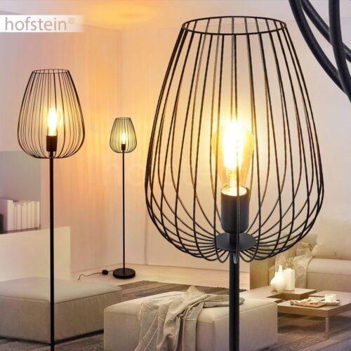 Retro Steh Leuchte Stand Boden Lese Beleuchtung schwarz Wohn Schlaf Raum Lampen