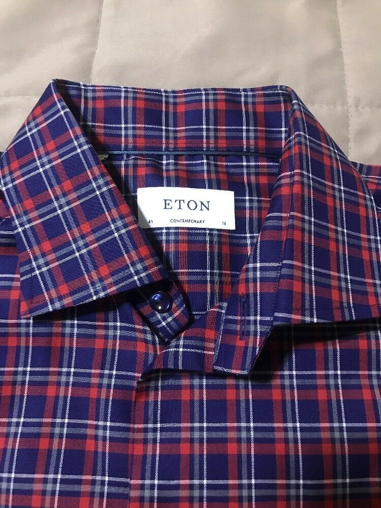 NEW Eton Of Sweden Contemporary Fit Plaid Dress Shirt- Red   Navy - Size 41   16