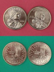 2002 D P Sacagawea Golden Dollars Mint Brilliant Uncirculated Combined Shipping
