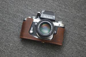Handmade Genuine Real Leather Half Camera Case Bag Cover for Nikon D850 Black Color