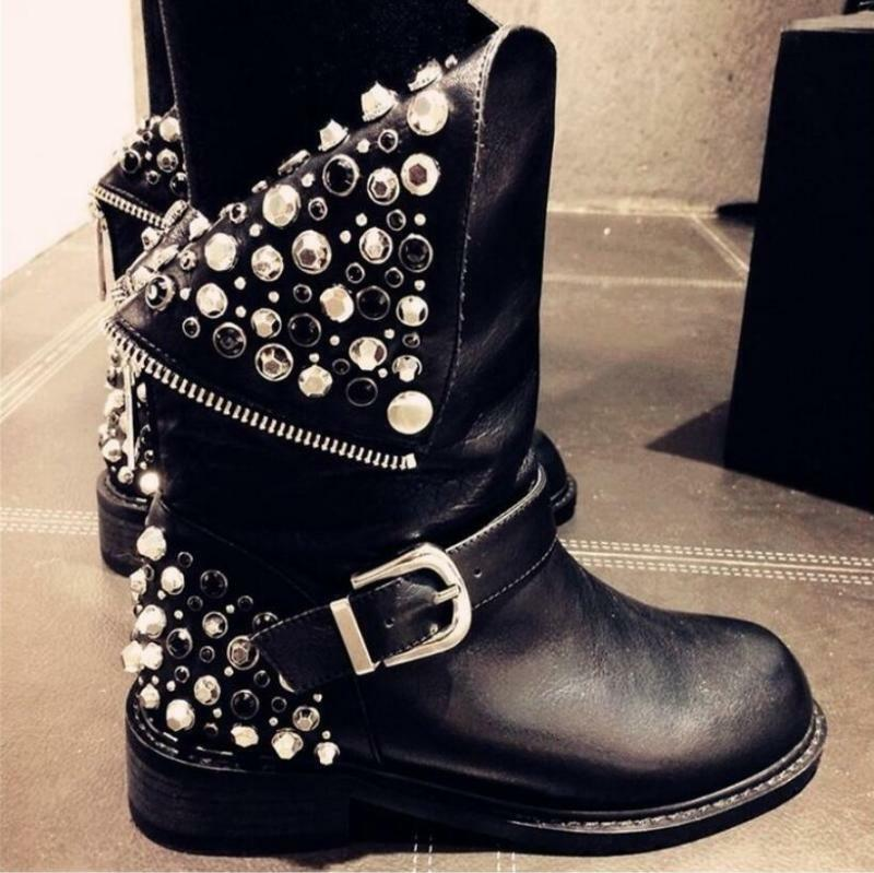 Women's Punk Mid Calf Boots Leather Motorcycle Rhinestone Shoes Military Rivet