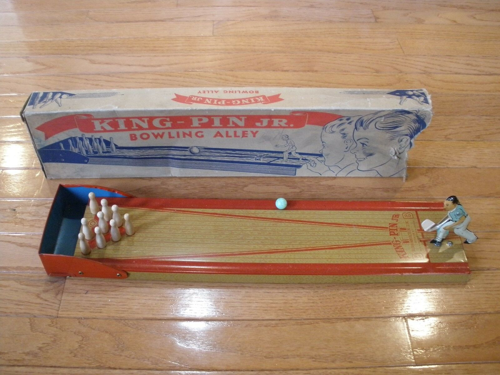 1930s KINGPIN JR. BOWLING ALLEY TOY - Tin Lithograph Toy