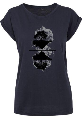 Damen T-Shirt Verkehrte Welt Extended Shoulder Tee mit Turnup Ärmeln bis Übergrö