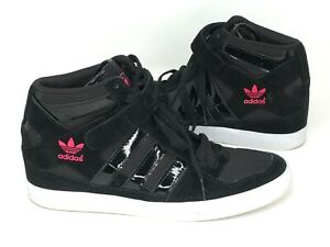 Adidas-Hi-Top-Court-Women-s-Size-9-Black-with-Pink-Trefoil-Shoe-Sneaker