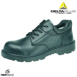 b107110a127 Details about Delta Plus LH833SM S3 SRC Black Leather Mens Steel Toe Cap  Work Safety Shoes PPE