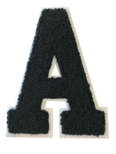 "2.5/"" Royal Black on White Chenille Alphabet PATCH ready for Iron-on"
