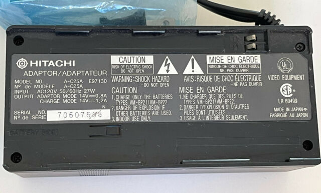HITACHI A-C25A Battery Charger for Video Cameras E97130 AC25A