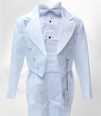 Baby & Boys Formal Tuxedo Tail Suit in White Christening Baptism Pageboy Outfit