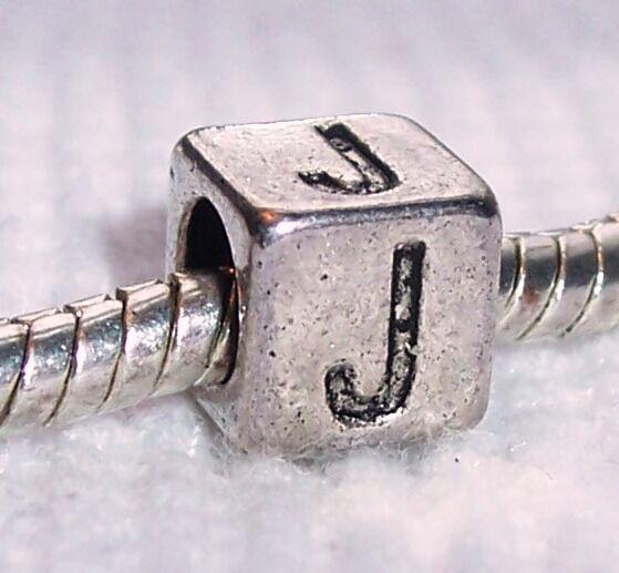 Letter J Initial Alphabet Cube Square Charm For Silver European Bead Bracelets
