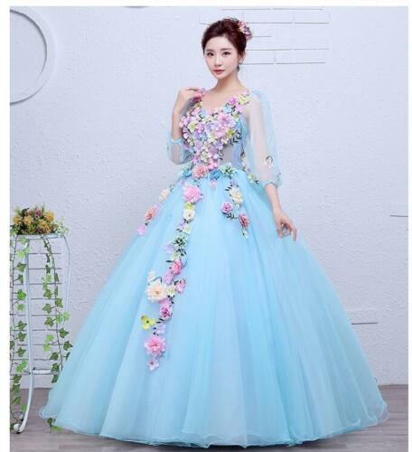Chic Elegant Wedding Dress Colorful Flowers Bridal Gown Princess bubble Skirt