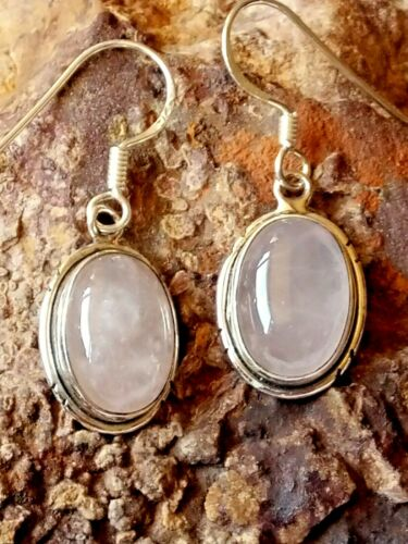 STERLING SILVER 20mm.OVAL DROP EARRINGS with ROSE QUARTZ CABOCHON STONES £15.95