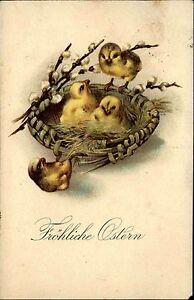 Frohe-Ostern-Fest-1929-Kueken-im-Zweigen-Nest-Weidekaetzchen-Happy-Easter-Card