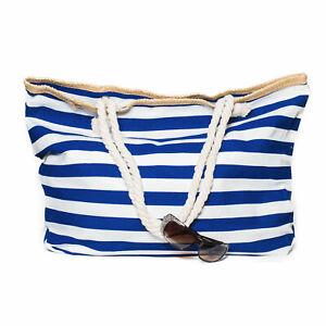 XXL-Damentasche-Strandtasche-Sommer-Tasche-Badetasche-Blau-Weiss-gestreift-gross