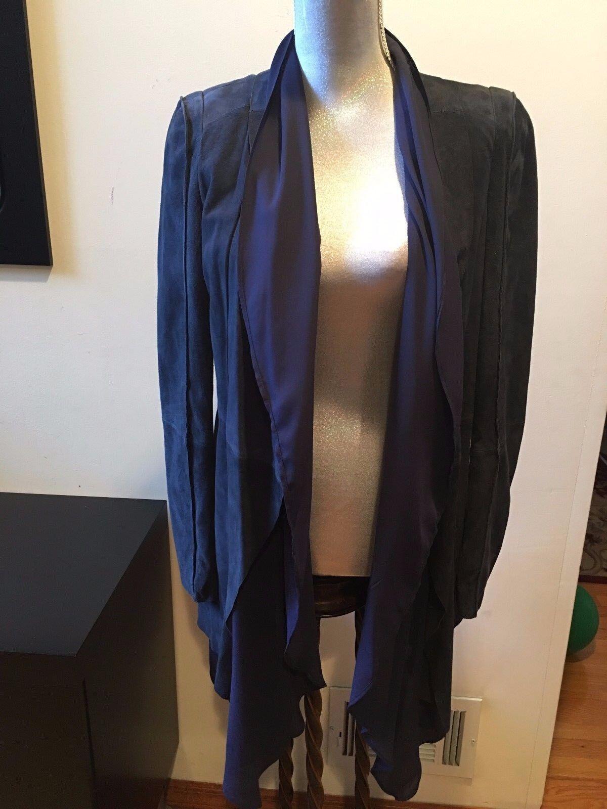 Nuevo BCBG Azul Marino Robin demandó Abrigo Chaqueta De  Cuero Talla M  la mejor oferta de tienda online