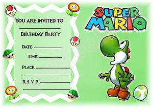 A5 NINTENDO SUPER MARIO CHILDRENS PARTY INVITATIONS X 12 YOSHI