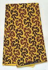 African Print Fabric, Ankara - Yellow, Brown 'Adinkra Cheetah' By the Yard