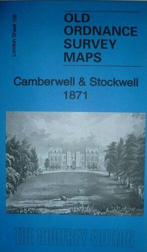 Old Ordnance Survey Detailed Maps London Camberwell /& Stockwell 1871 Godfrey Ed
