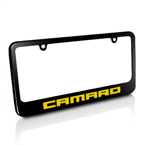 Chevrolet Camaro Yellow Logo Black Metal License Plate Frame