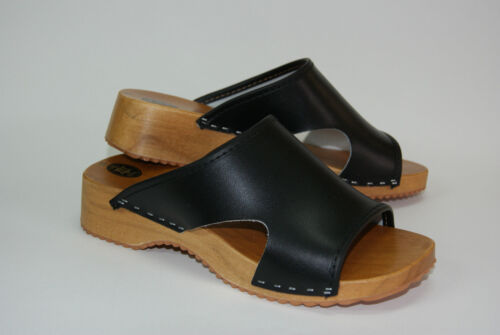 Womens Hand Made Clogs Ladies Wooden Sole 100/% Natural Leather Upper Size 3-8