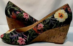 fd1f178ad9 New Liz Claiborne 'Paula' Tropical Print Palm Peep Toe Cork Wedge ...