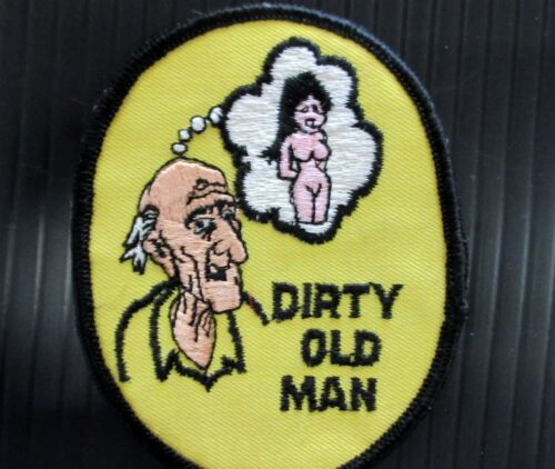 """New 1970/'s Vintage Embroidered /""""Dirty Old Man/"""" Motorcycle Patch"""