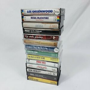 Lot-of-14-Country-Music-Cassette-Tapes-Reba-George-Jones-Patsy-Cline-Elvis