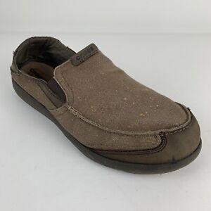 Crocs-Mens-Walu-Express-Loafers-Slip-On-Brown-Size-13-Read-Description