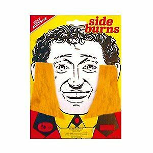 Thick Blonde Sideburns Side Burns Adhesive Facial Hair 60s 70s 80s Fancy Dress