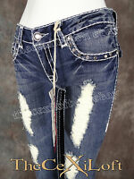 Womens La Idol Capri's Jeans Destroyed With Holes And Crosses 5050