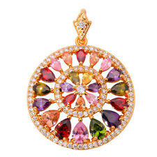 Multigem Zircon Yellow Gold Filled Fashion Women Jewelry Gemstone Pendant ND395